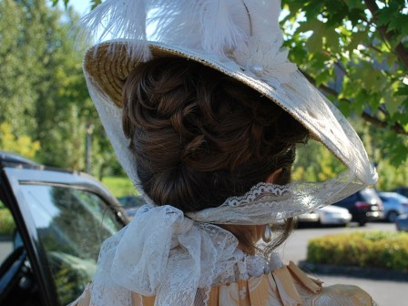 18th century costume, ivory bergere hat