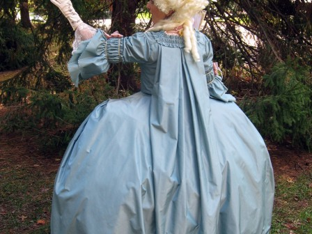 18th century costume, seafoam and pink Robe a la Francaise