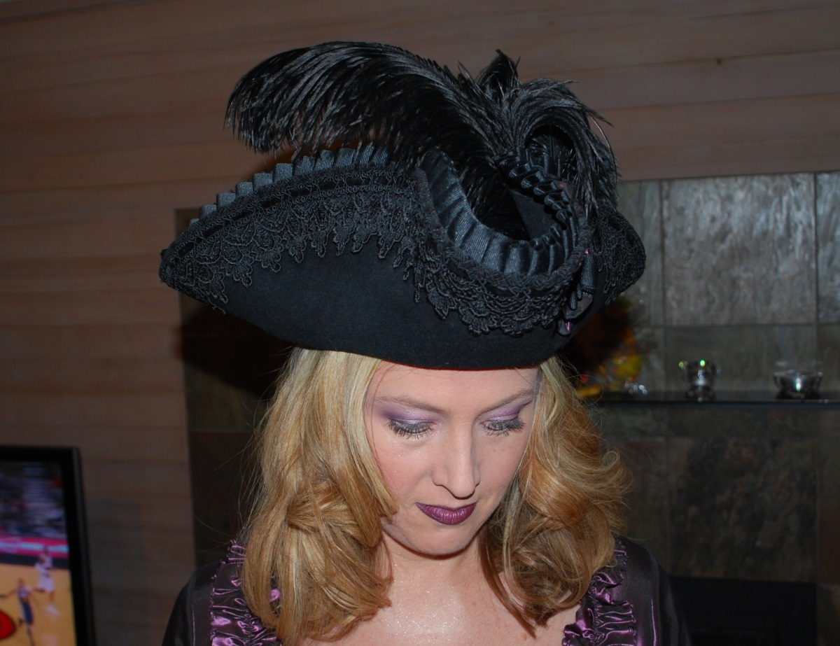Fancy black tricorn pirate hat with lace feathers and cockade worn by Bethany.  sc 1 st  Starlight Masquerade : tricorn hat costume  - Germanpascual.Com