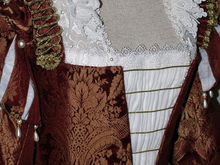 Burgundy Venetian Renaissance Gown With Ruffs, Front Laces