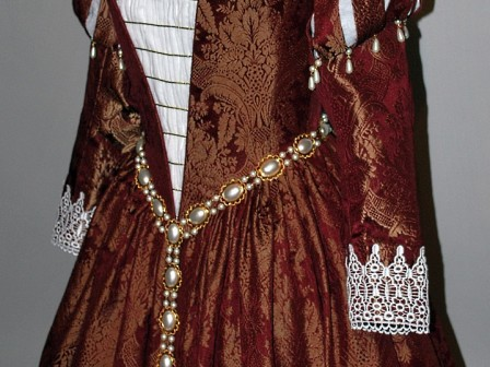 Burgundy Venetian Renaissance Gown With Ruffs