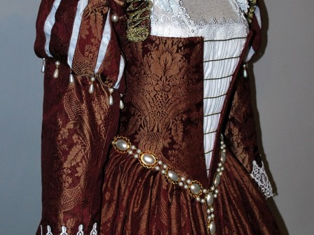 Burgundy Venetian Renaissance Gown With Ruffs, Paned Sleeves