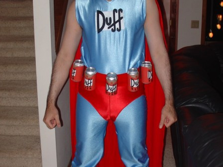 Duffman Costume from The Simpsons cartoon.