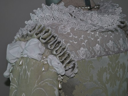 Silver Venetian Renaissance Gown with Lace Partlet