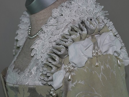Silver Venetian Renaissance Gown with Shoulder Ruffs