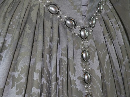 Silver Venetian Renaissance Gown with Pearl Girdle