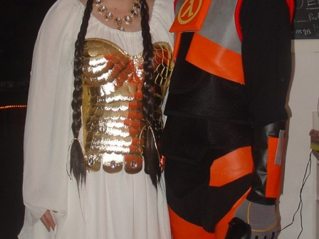 Gold Bustier Valkyrie costume and Gordon Freeman