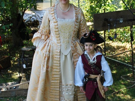 18th century costume, Gold and pearl Robe a la Anglaise with Bergere Hat