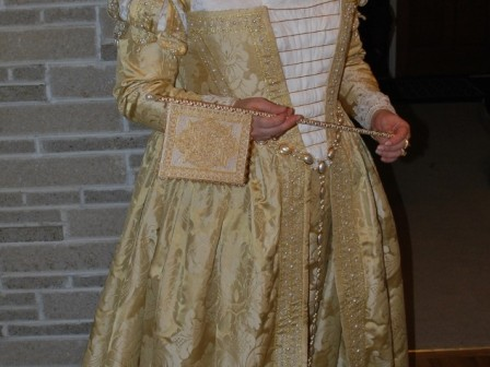16th Century Costume, Venetian Renaissance Gown and Flag Fan
