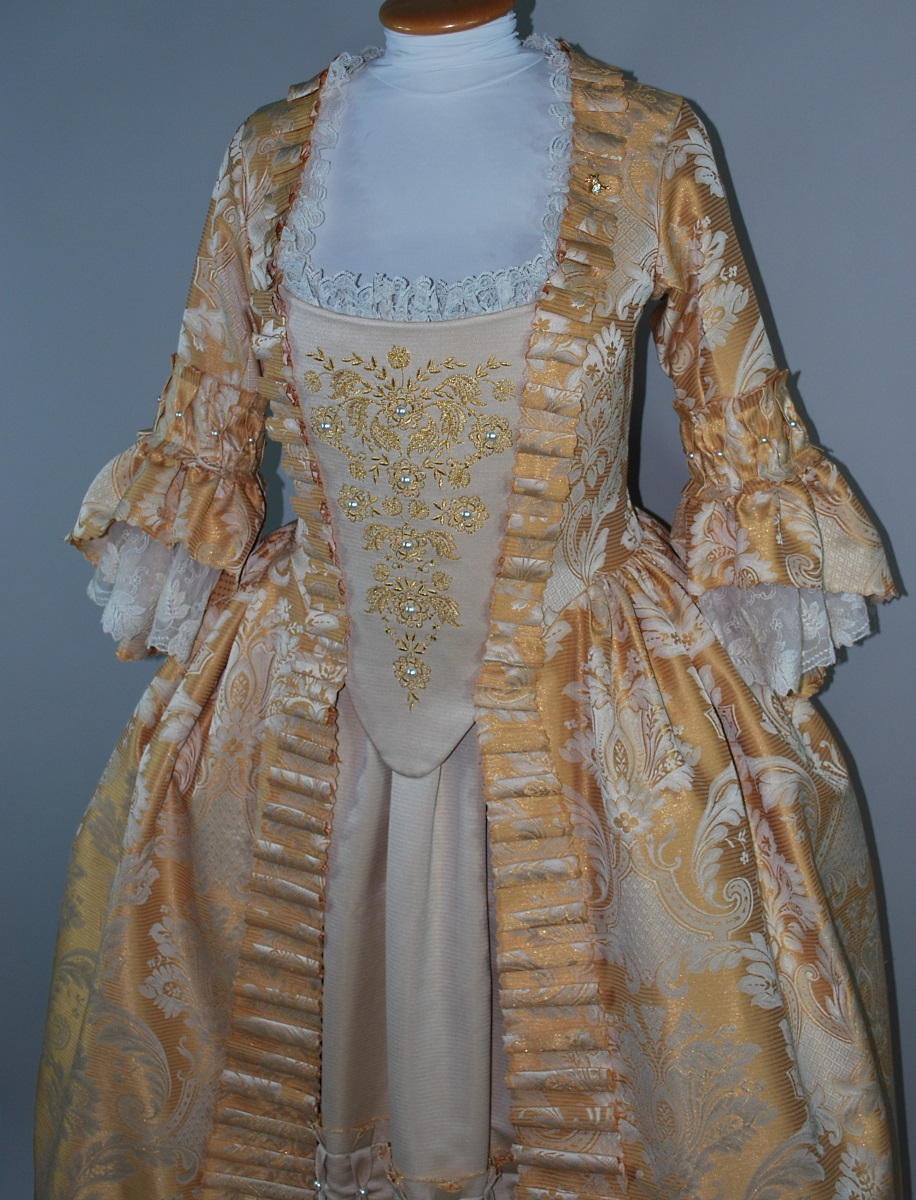 Gold Embroidered 18th Century Gown Starlight Masquerade