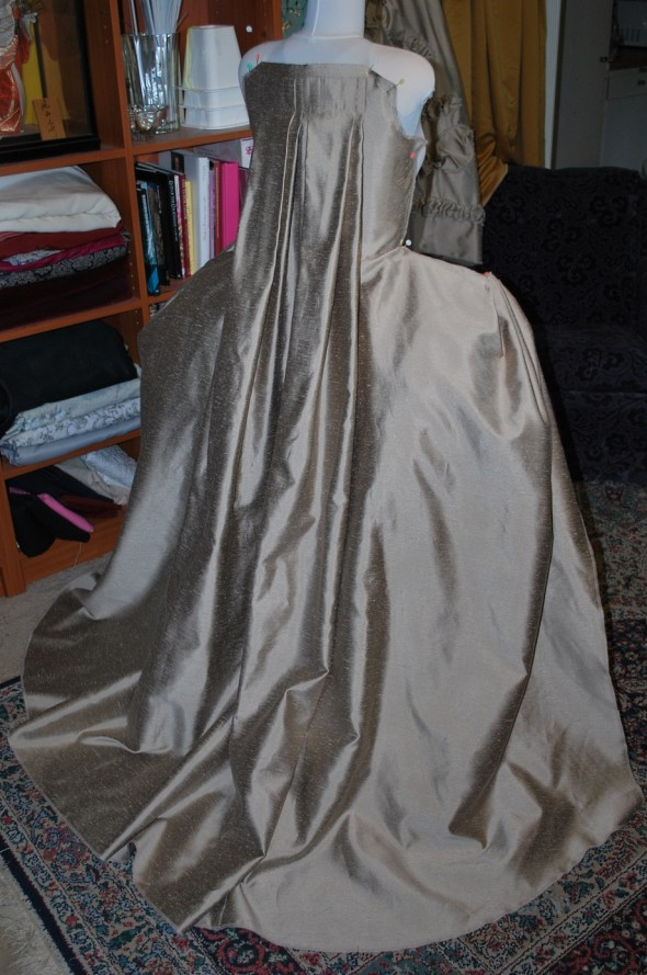 Taupe Robe a la Francaise: Back Done