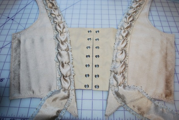 Taupe Robe a la Francaise: Bodice Fronts Done