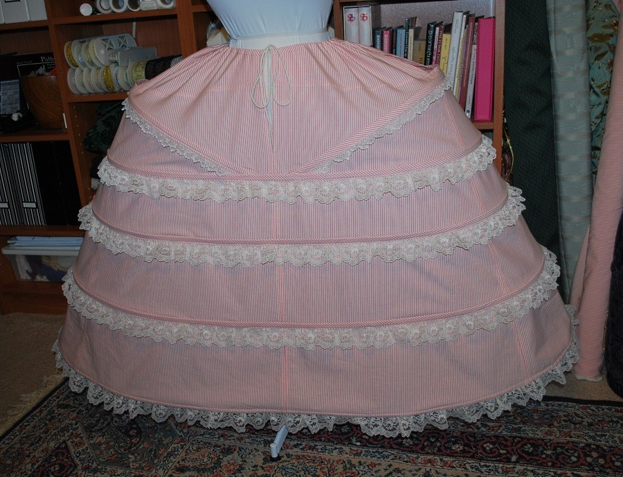 Pink Striped & Cream Lace Grand Pannier