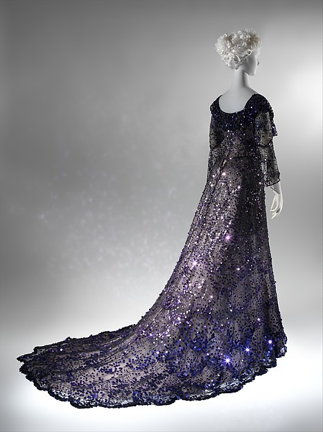 Evening dress, 1902 French, silk, sequins; [no dimensions available] The Metropolitan Museum of Art, New York, Gift of Miss Irene Lewisohn, 1937 (C.I.37.44.2a, b) http://www.metmuseum.org/Collections/search-the-collections/82656